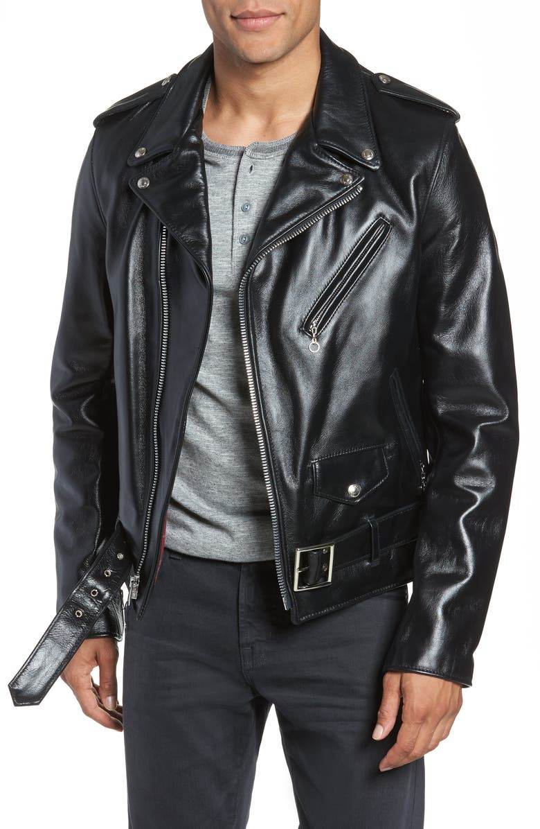 SCHOTT NYC Waxy Cowhide Leather Motorcycle Jacket, Main, color, Black