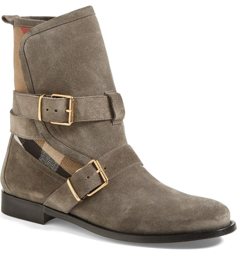 BURBERRY 'Worcester' Belted Suede Boot, Main, color, MOLE GREY
