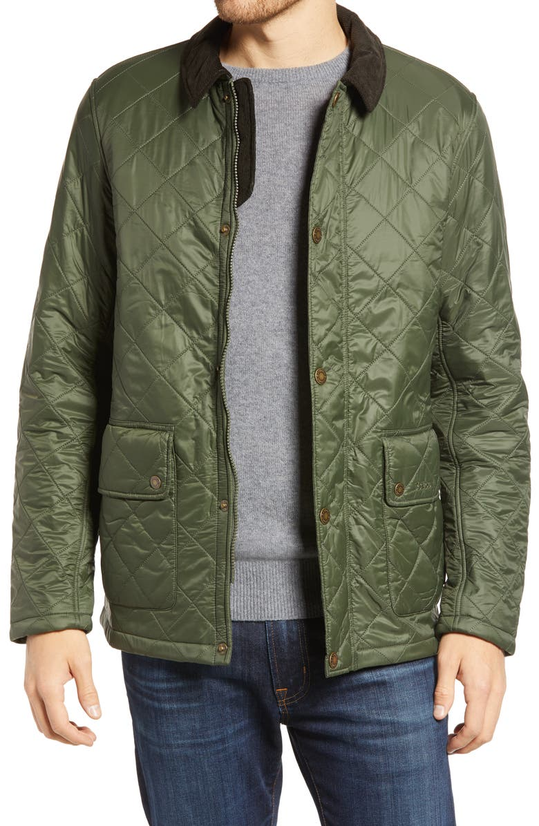 BARBOUR Denill Quilted Jacket, Main, color, OLIVE