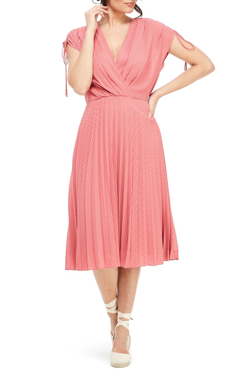 GAL MEETS GLAM COLLECTION Pleated Ruched Shoulder Dress, Main, color, 640