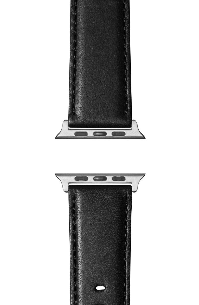SHINOLA Aniline Leather Apple Watch<sup>®</sup> Strap, Main, color, BLACK/ SILVER PLATING