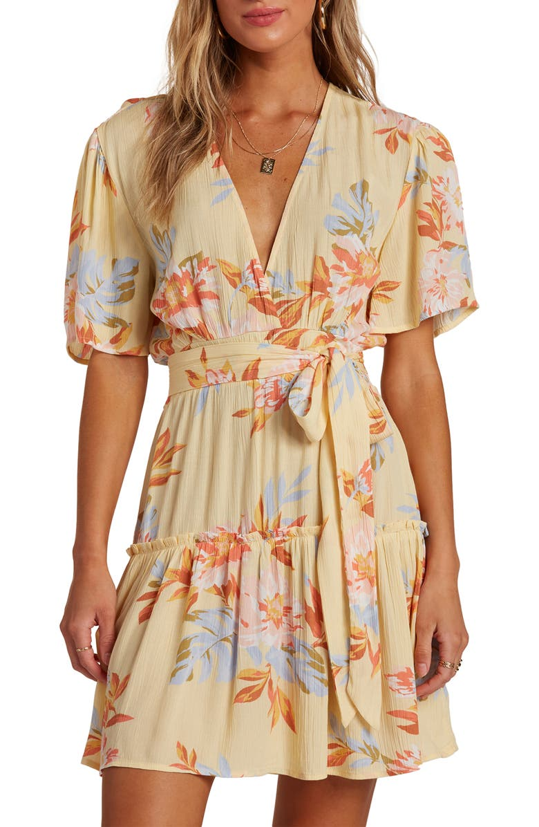 BILLABONG One & Only Floral Dress, Main, color, MIMOSA