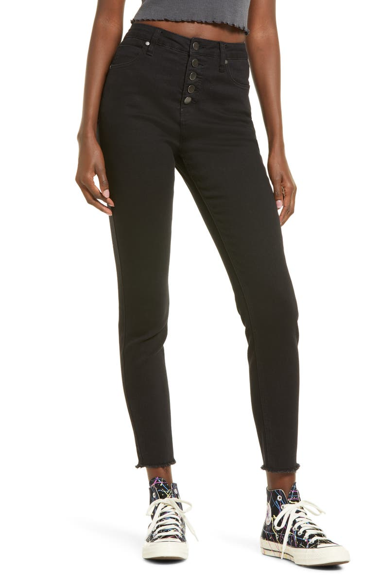 BP. High Waist Ankle Skinny Jeans, Main, color, BLACK RINSE