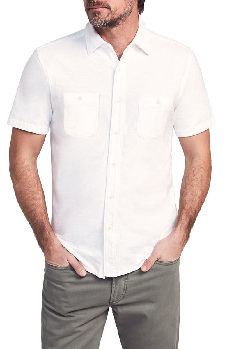 FAHERTY Seasons Regular Fit Knit Short Sleeve Button-Up Shirt, Main, color, WHITE
