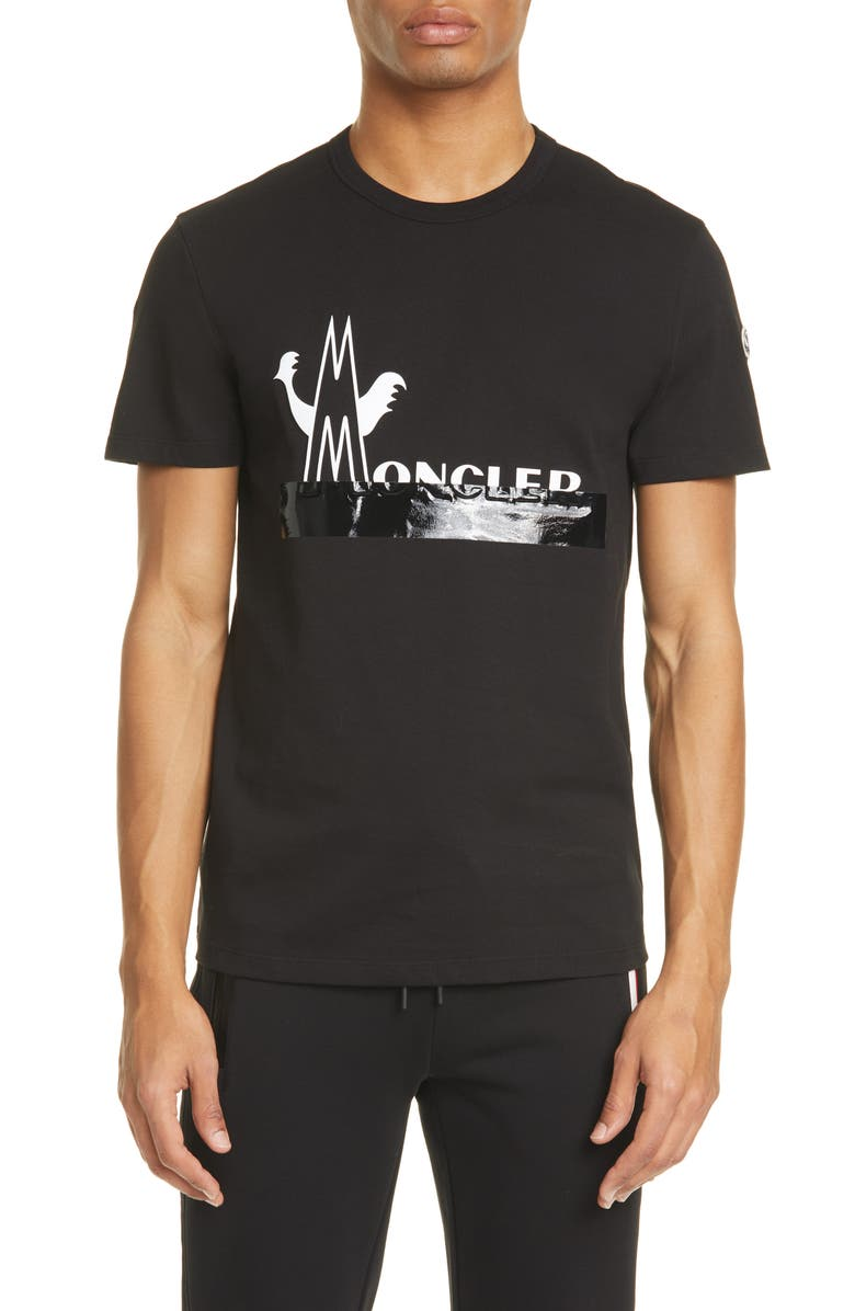 MONCLER Duct Tape Logo Graphic Tee, Main, color, 001