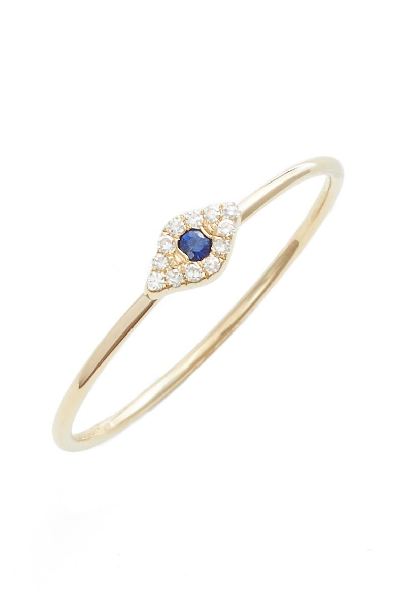 EF COLLECTION Evil Eye Diamond & Sapphire Stack Ring, Main, color, YELLOW GOLD/ SAPPHIRE