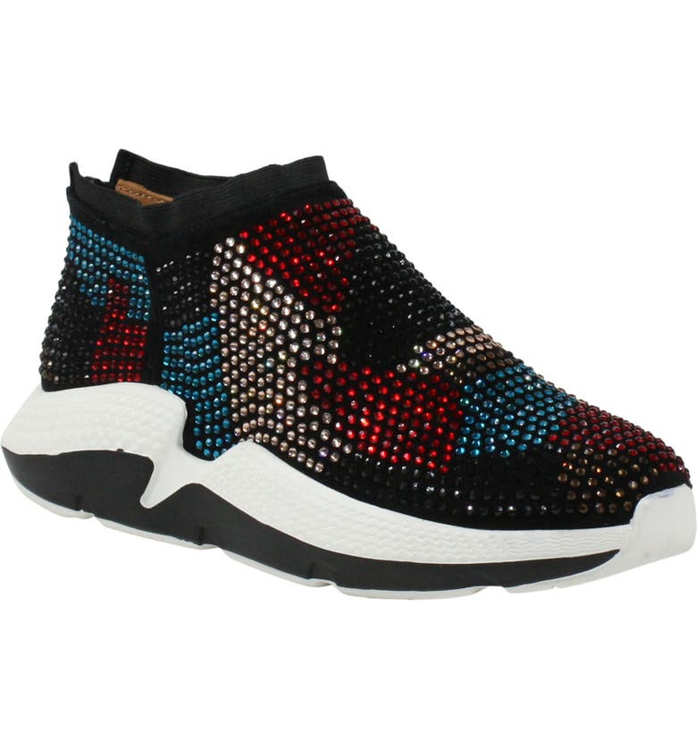 L'AMOUR DES PIEDS Helena Embellished Sneaker, Main, color, BLACK/ BRIGHT MULTI FABRIC
