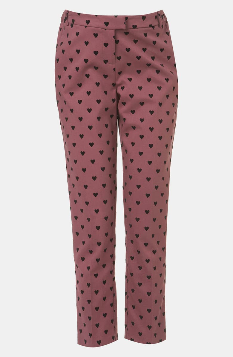 TOPSHOP Flocked Heart Maternity Trousers, Main, color, 603