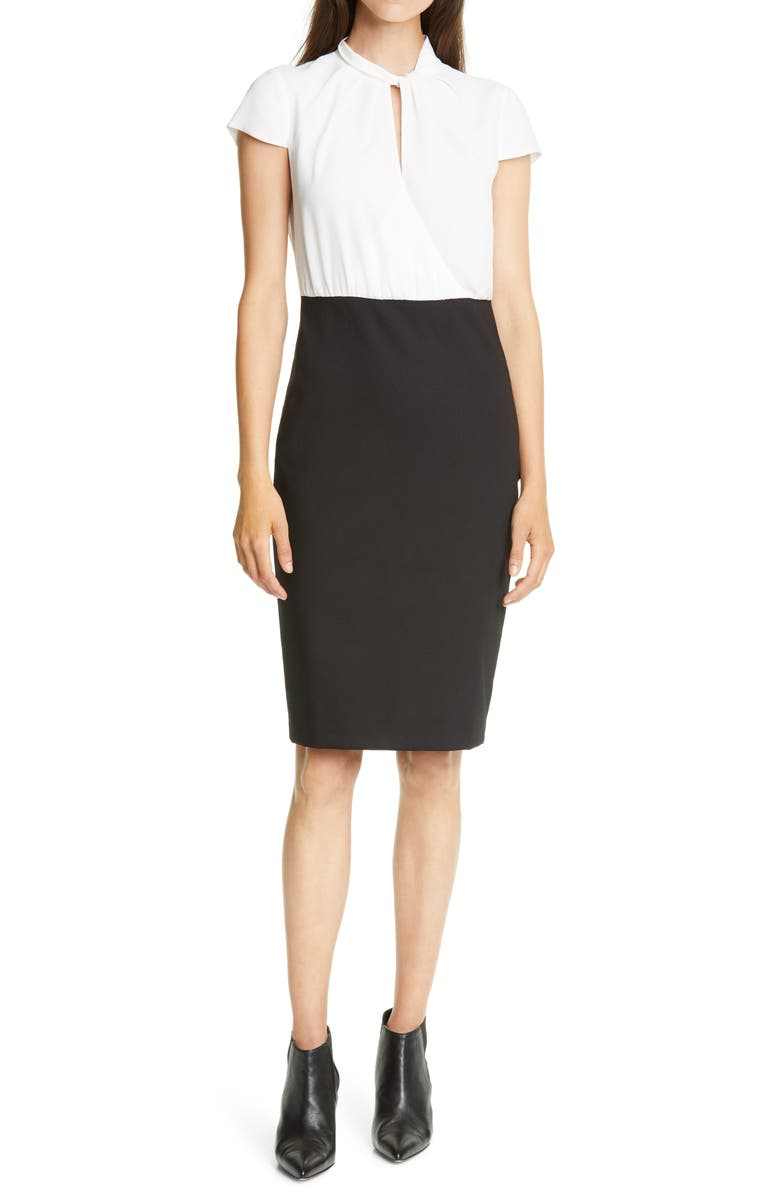 TED BAKER LONDON Daylla Two-Tone Mock Neck Pencil Dress, Main, color, IVORY