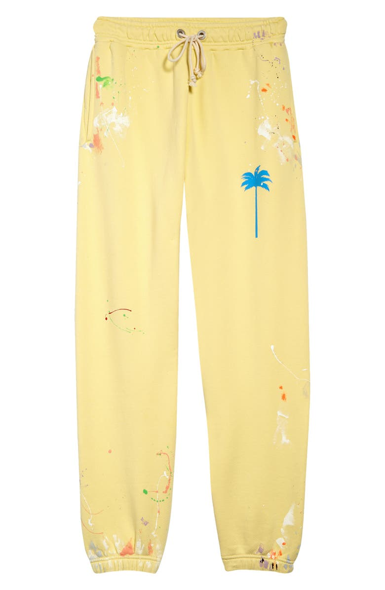 PALM ANGELS Logo Paint Spatter Joggers, Main, color, BABY YELLOW BLUE