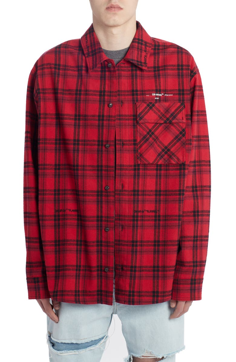 OFF-WHITE Check Flannel Button-Up Shirt, Main, color, 600