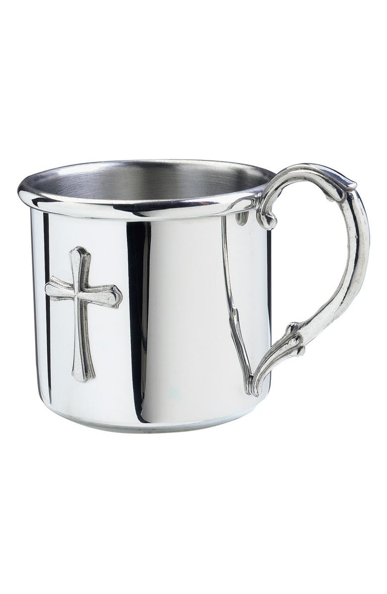 SALISBURY PEWTER 'Easton - Cross' Personalized Baby Cup, Main, color, NONE