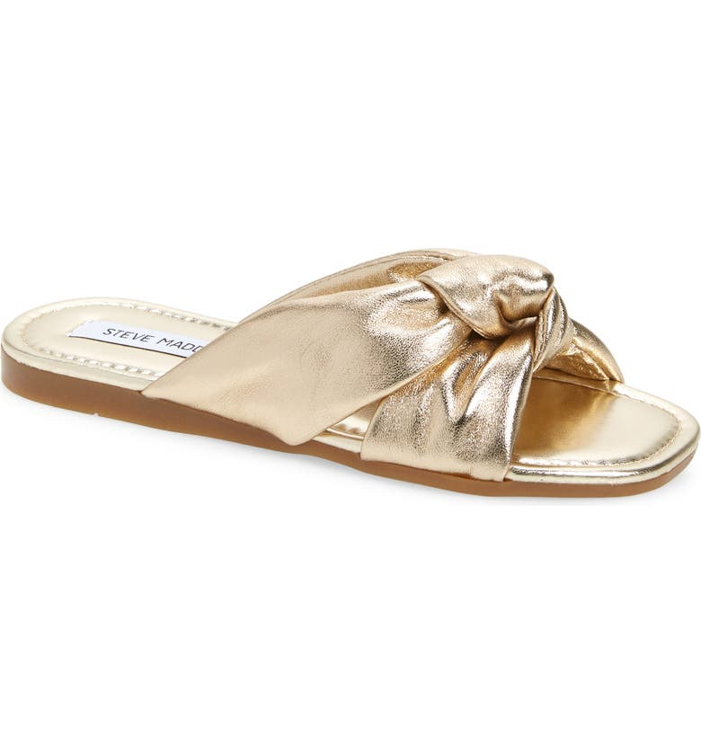 STEVE MADDEN Entrada Knot Slide Sandal, Main, color, GOLD LEATHER