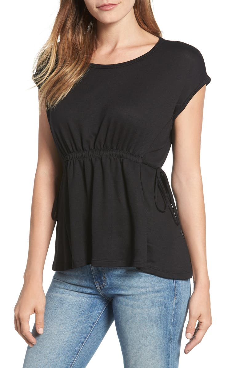 BOBEAU Cinched Waist French Terry Top, Main, color, 001