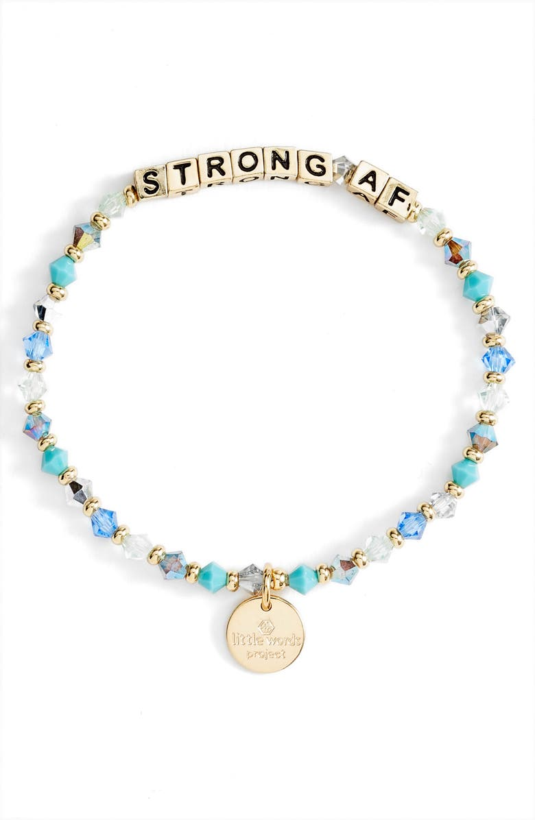 LITTLE WORDS PROJECT Strong AF Beaded Stretch Bracelet, Main, color, WATERFALL