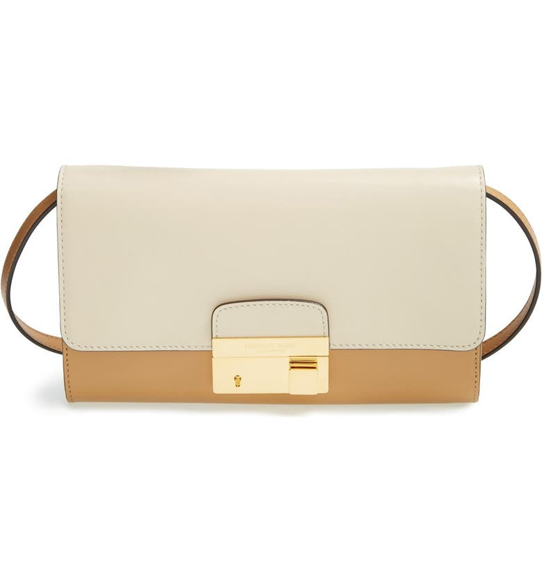 MICHAEL KORS 'Gia' Convertible Leather Clutch, Main, color, VANILLA