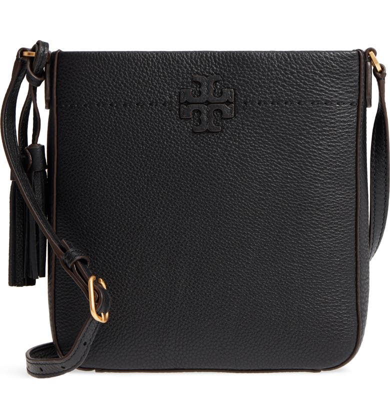 TORY BURCH McGraw Leather Crossbody Tote, Main, color, 001