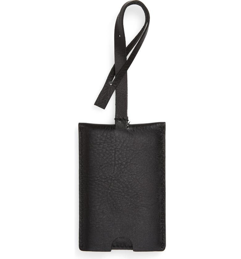 MADEWELL The Leather Luggage Tag, Main, color, TRUE BLACK