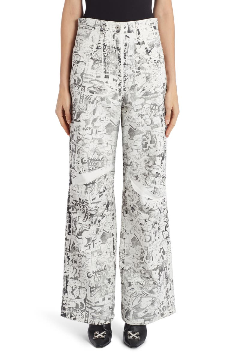 OFF-WHITE Graphite Print Oversized Jeans, Main, color, 100