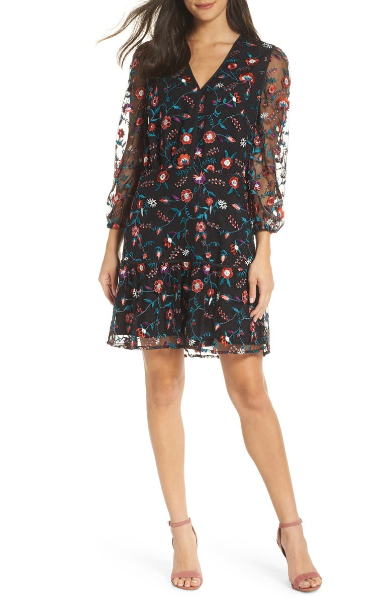 SAM EDELMAN Embroidered Mesh Dress, Main, color, 008