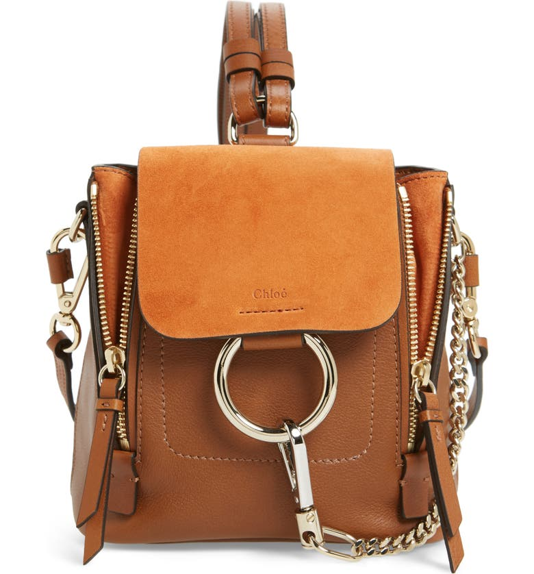 CHLOÉ Mini Faye Leather & Suede Backpack, Main, color, 211