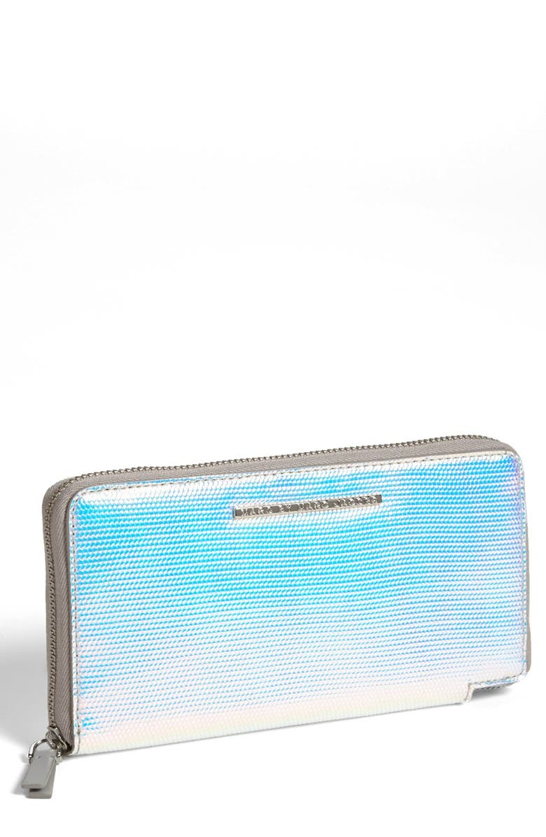 MARC JACOBS MARC BY MARC JACOBS 'Karma Chameleon - Slim Zippy' Wallet, Main, color, SILVER HOLOGRAPHIC