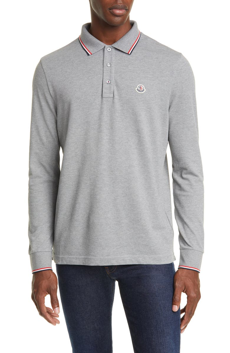 MONCLER Tipped Long Sleeve Piqué Polo, Main, color, GREY