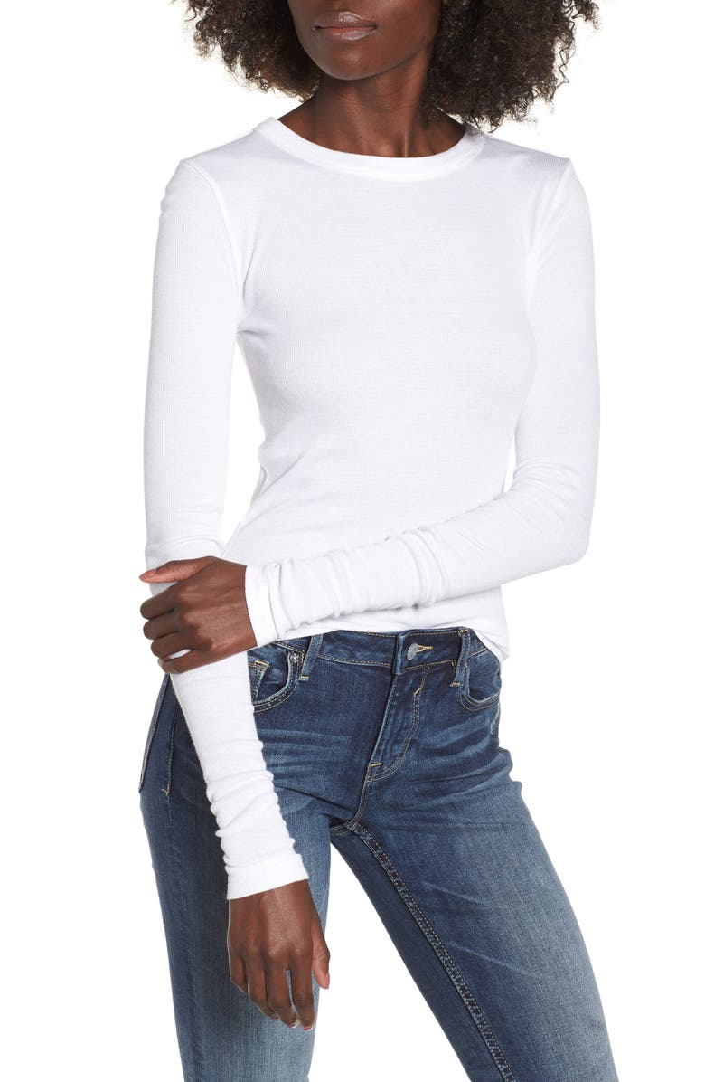 BP. Ribbed Long Sleeve Tee, Main, color, WHITE