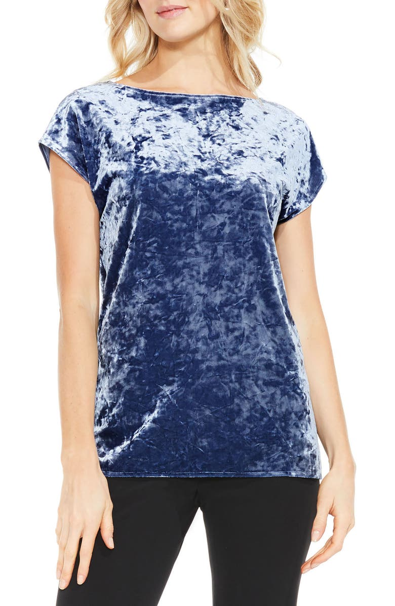 VINCE CAMUTO Crushed Velvet Knit Tee, Main, color, 485