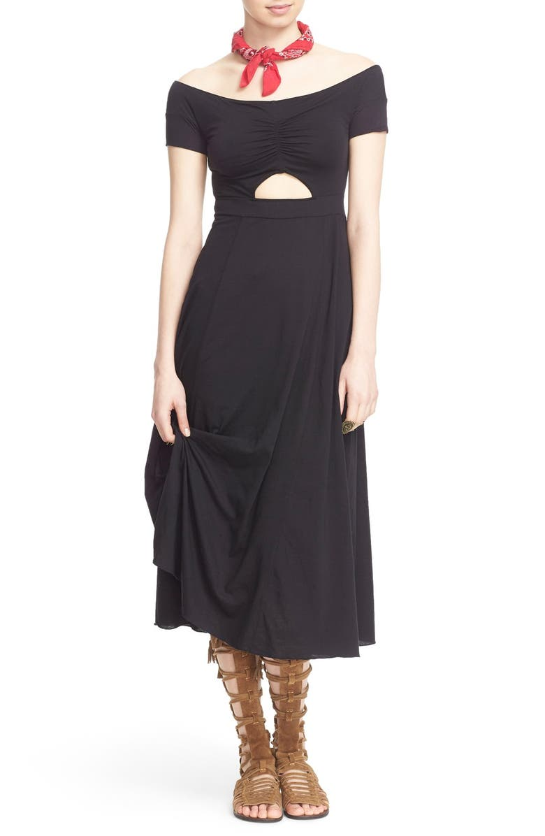 FREE PEOPLE 'Dance with Me' Off the Shoulder Fit & Flare Dress, Main, color, BLACK