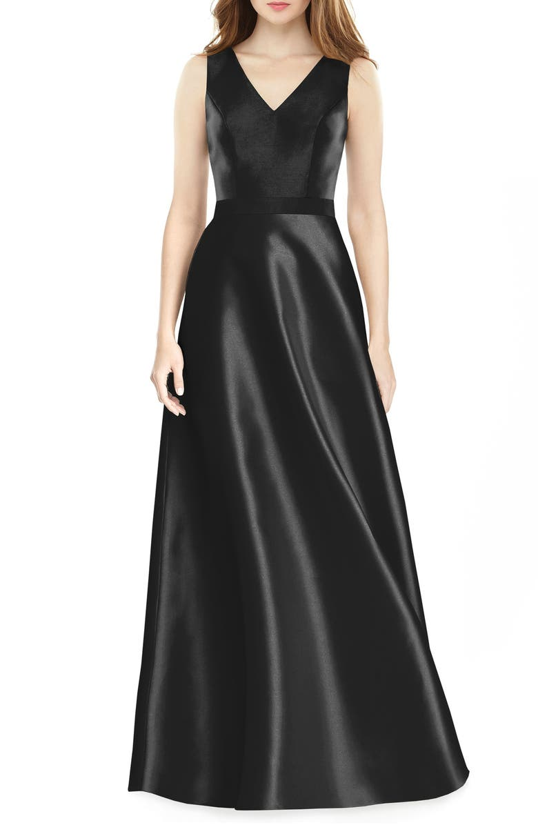 ALFRED SUNG V-Neck Satin Twill A-Line Gown, Main, color, BLACK