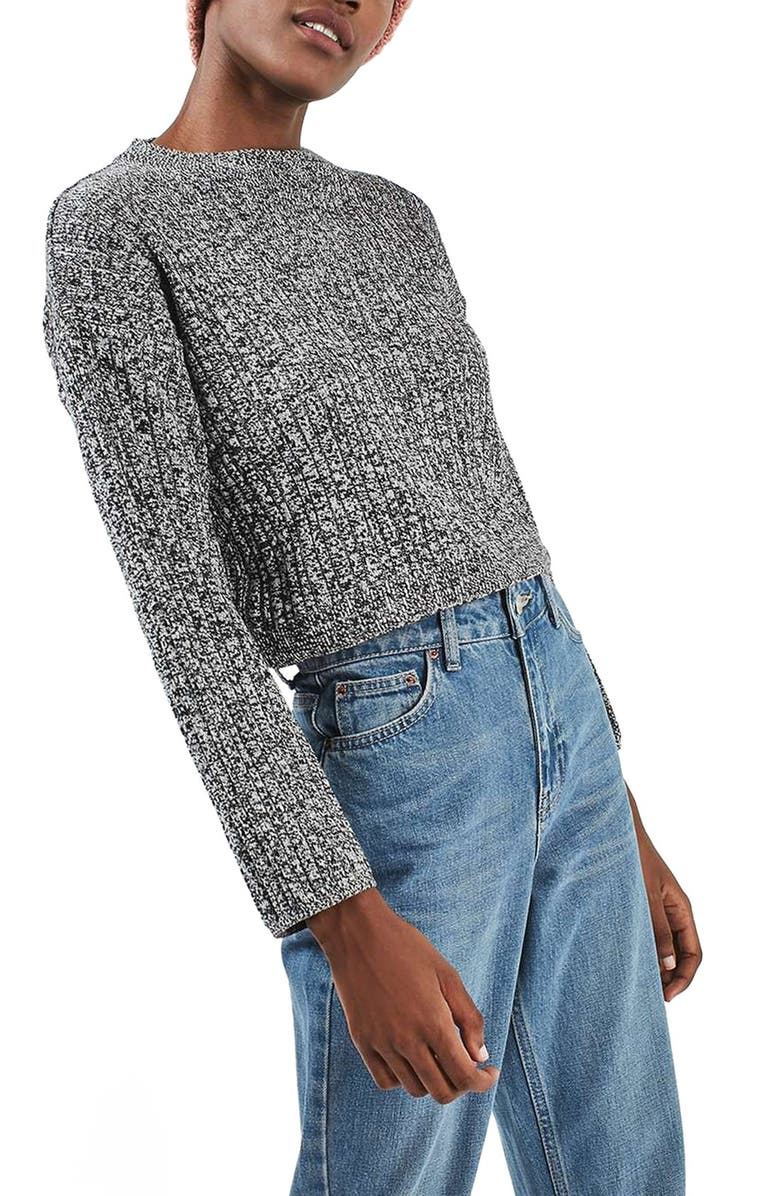 TOPSHOP Marled Crop Sweater, Main, color, 020