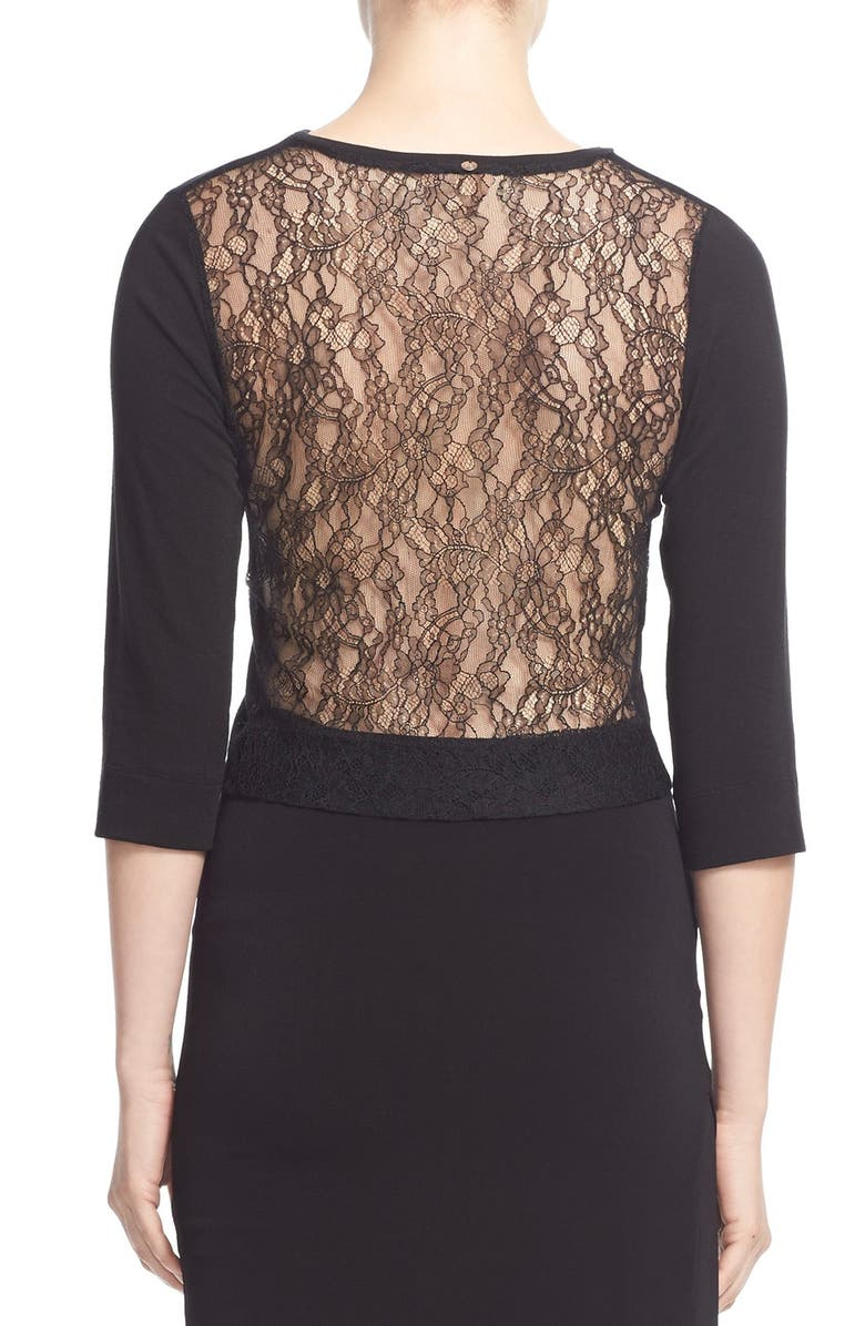 ALICE + OLIVIA 'Roanne' Lace Back Top, Main, color, 001