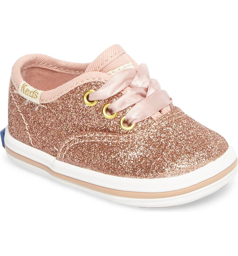 KEDS<SUP>®</SUP> x kate spade new york Champion Glitter Crib Shoe, Main, color, ROSE GOLD