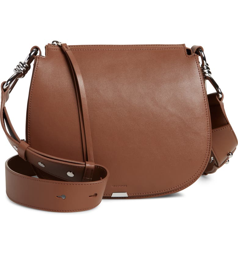 ALLSAINTS Captain Round Leather Crossbody Bag, Main, color, CHOCOLATE BROWN