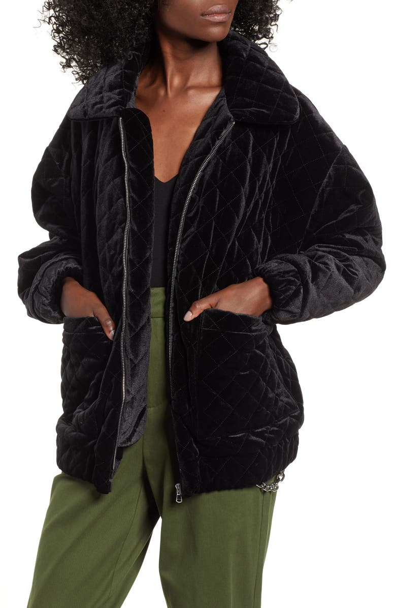 I.AM.GIA Contraband Quilted Velvet Jacket, Main, color, 001