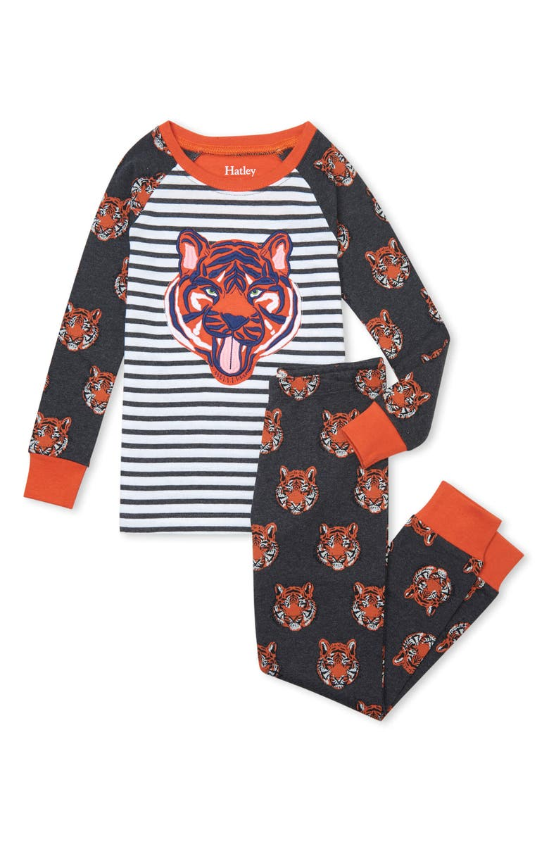 HATLEY Kids' Fierce Tiger Organic Cotton Fitted Two-Piece Pajamas, Main, color, Grey