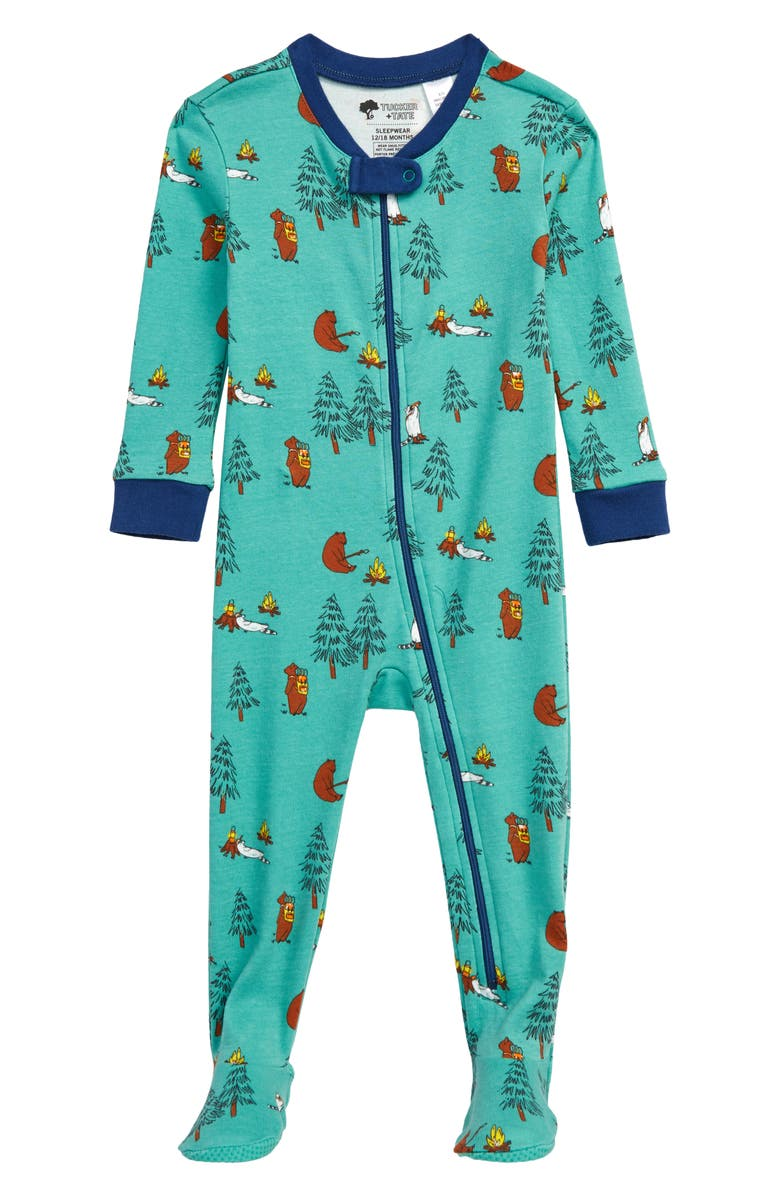 TUCKER + TATE Print Fitted One-Piece Pajamas, Main, color, GREEN MARINE CAMP FRIENDS