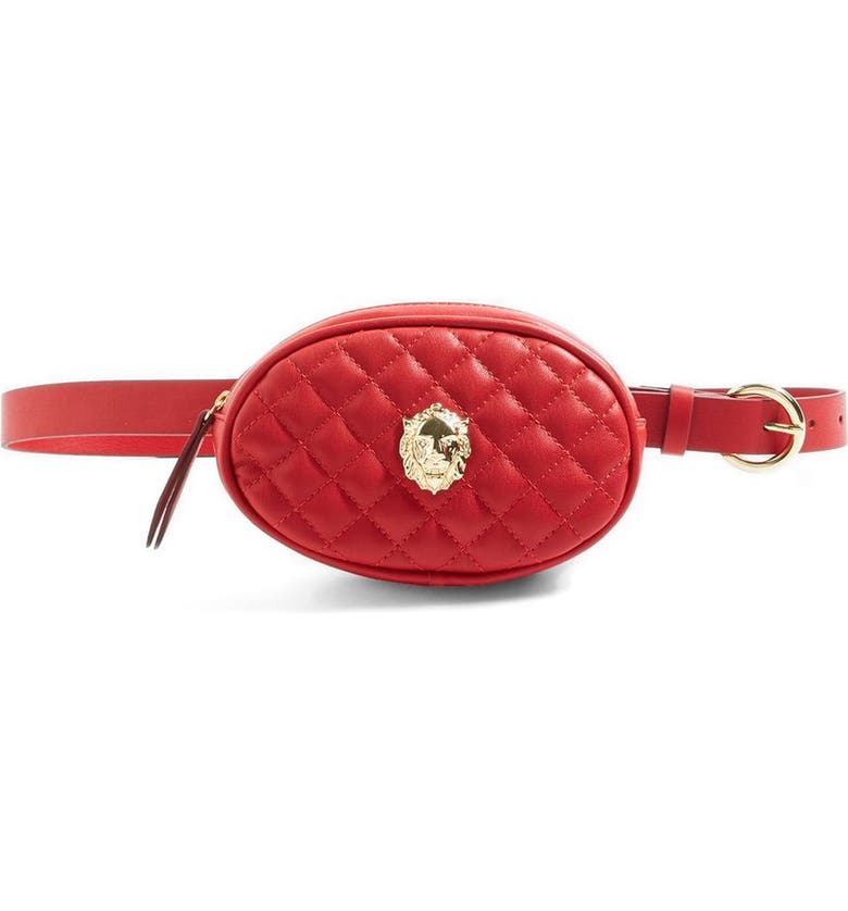 TOPSHOP Quilted Faux Leather Belt Bag, Main, color, 600