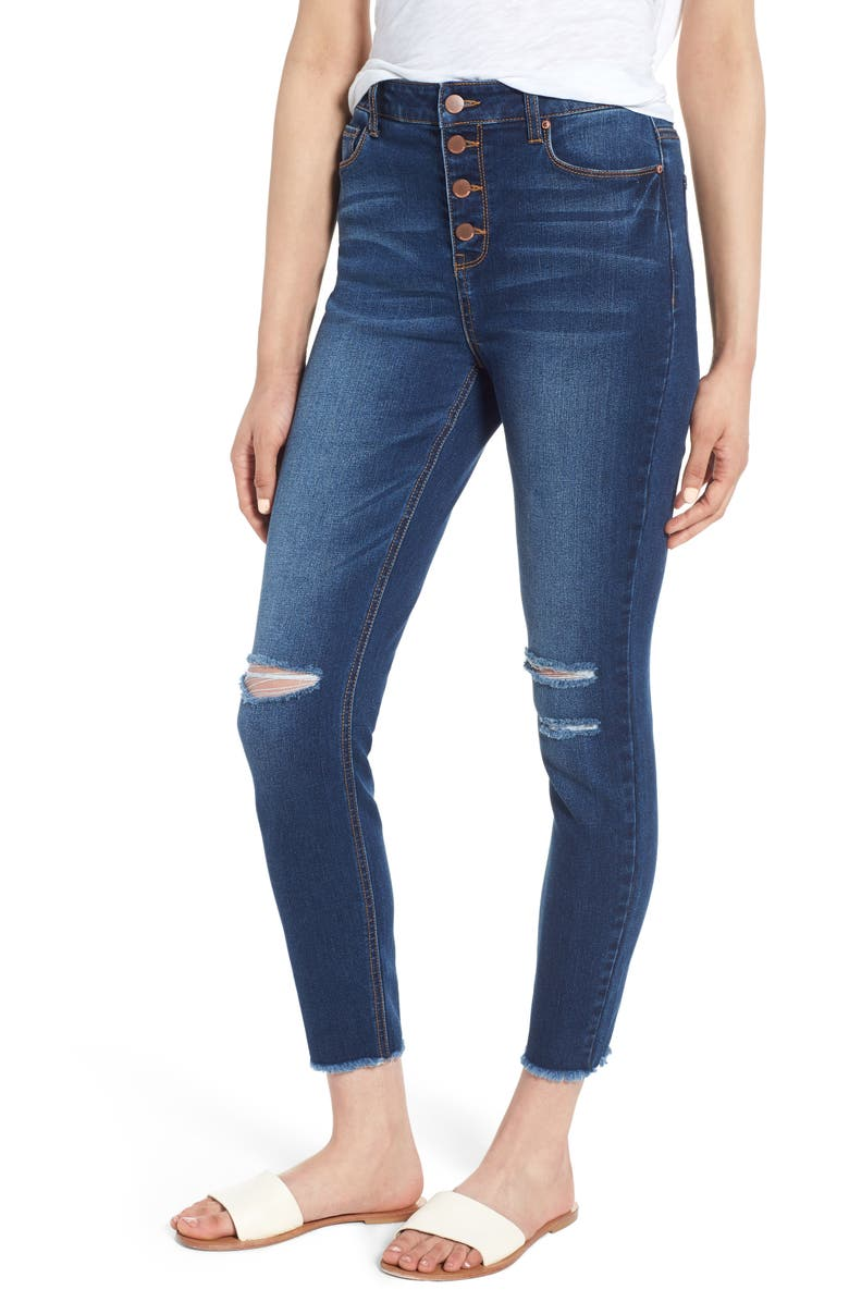TINSEL Ripped High Waist Ankle Jeggings, Main, color, 404
