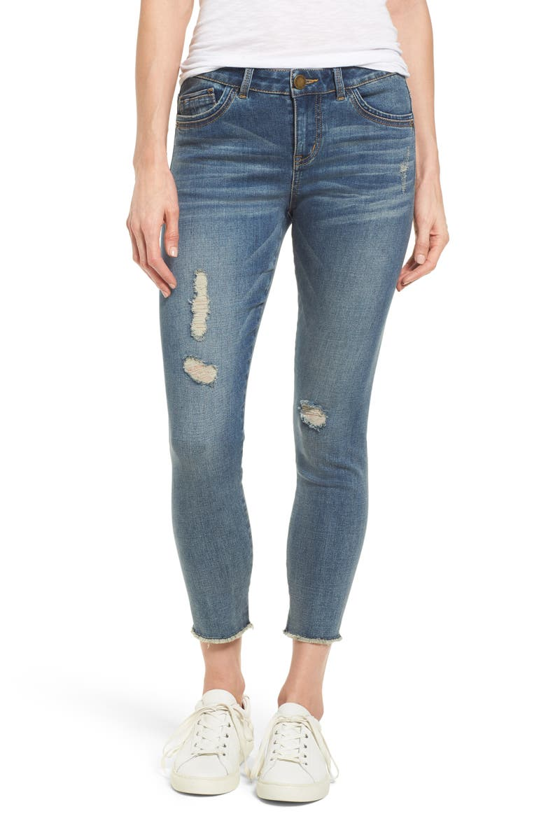 WIT & WISDOM Ripped Seamless Ankle Jeans, Main, color, BLUE