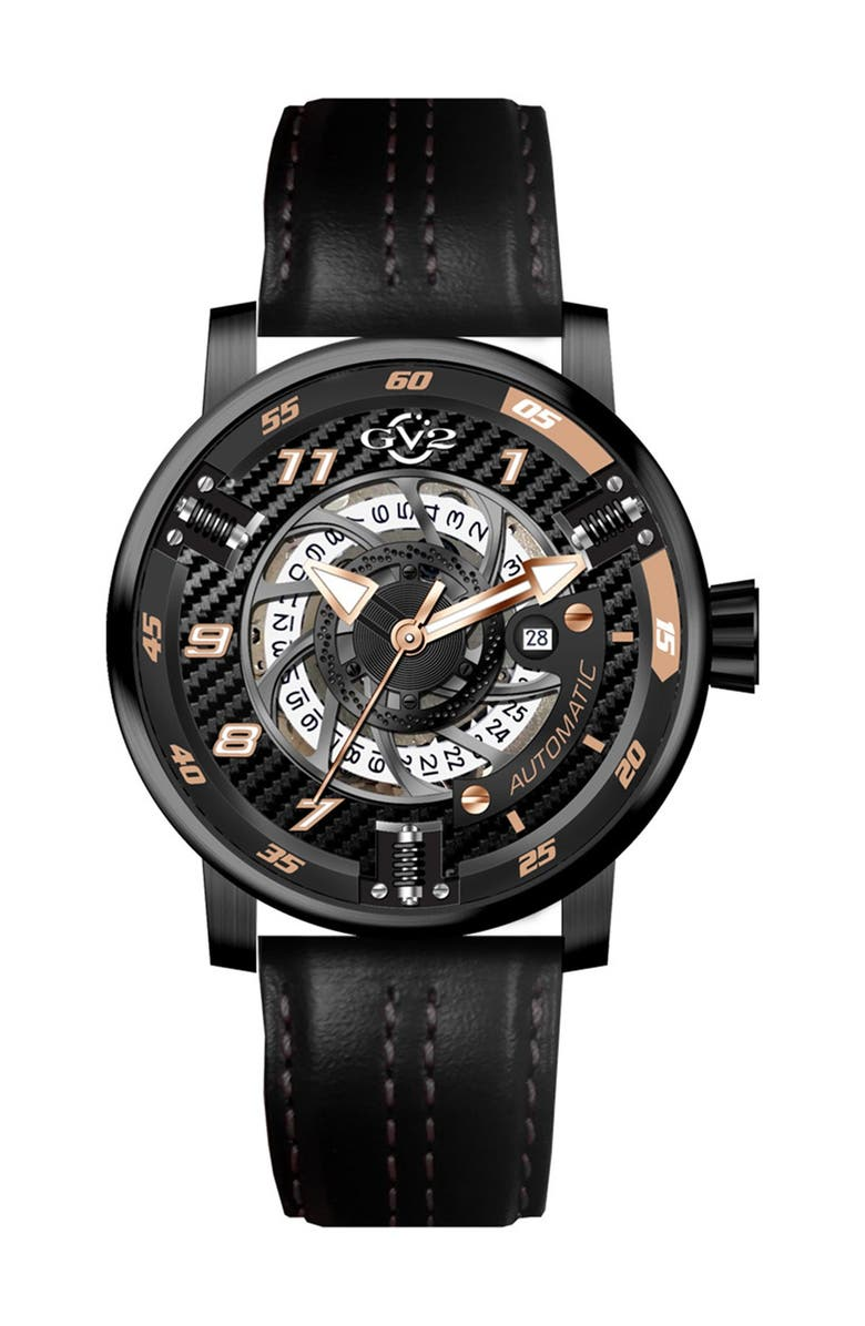 GV2 Men's Motorcycle Calfskin Leather Strap Watch, 48mm, Main, color, BLACK