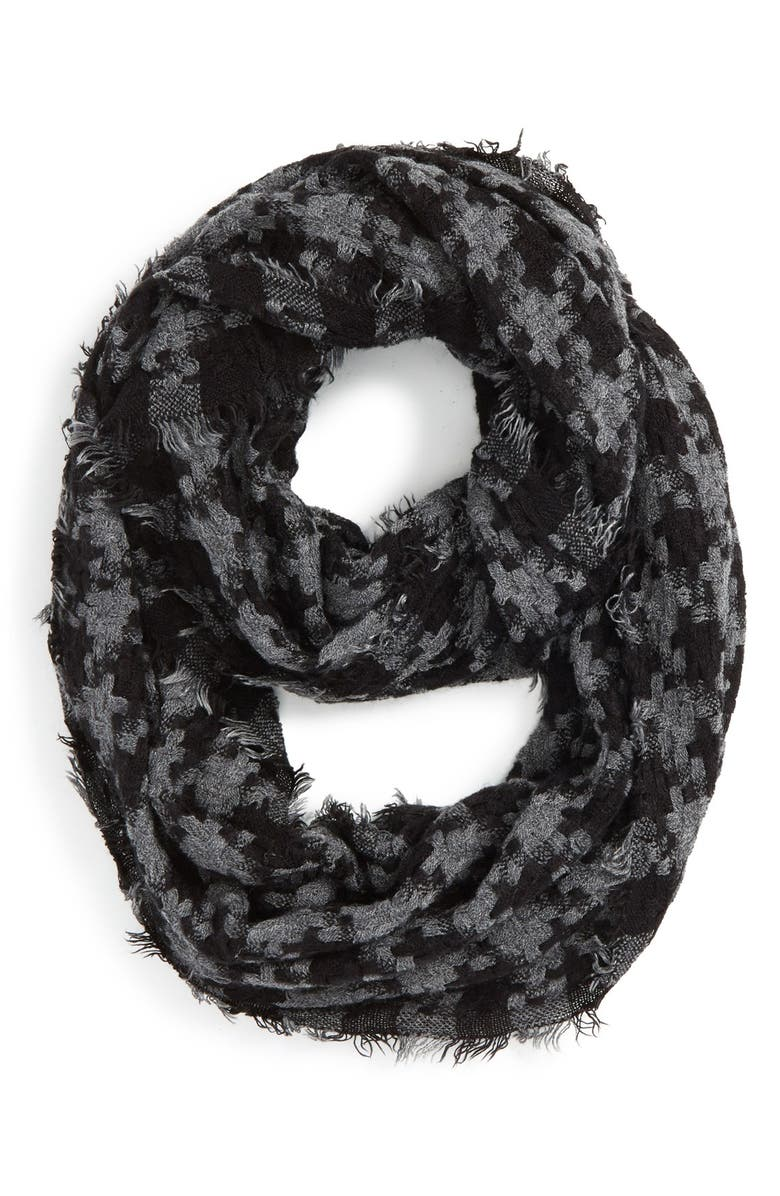 BP. Houndstooth Woven Infinity Scarf, Main, color, 001