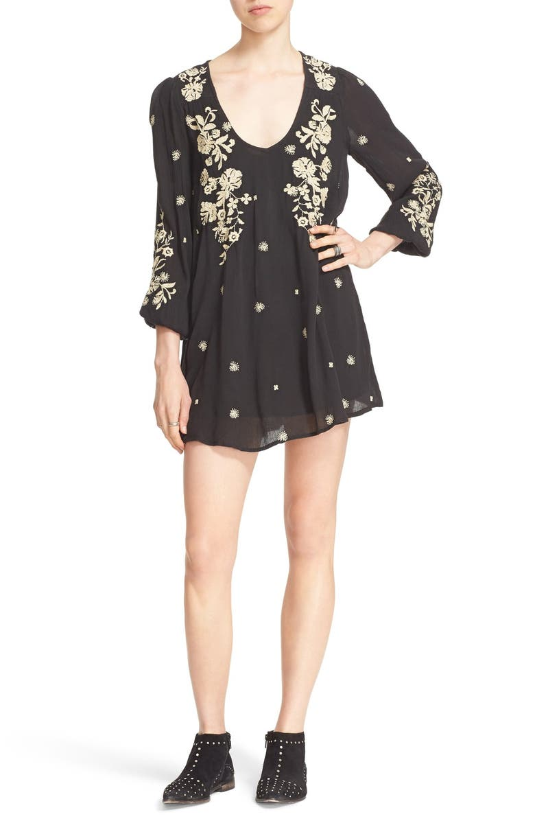FREE PEOPLE 'Sweet Tennessee' Embroidered Minidress, Main, color, BLACK COMBO