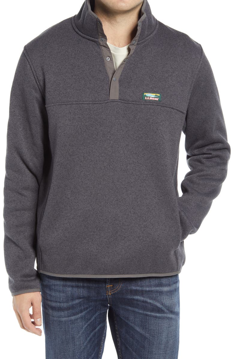 L.L.BEAN Sweater Fleece Pullover, Main, color, CHARCOAL GREY HEATHER