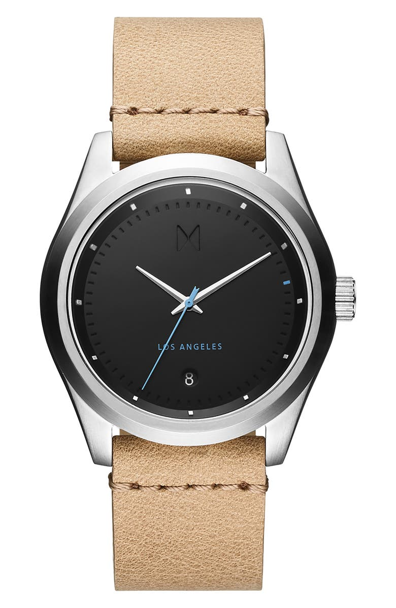 MVMT Time Crusher Leather Strap Watch, 39mm, Main, color, 200