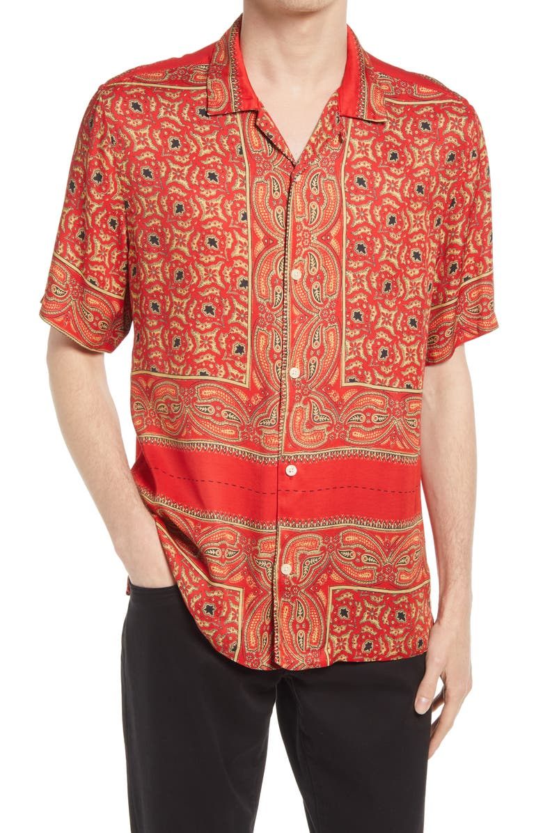 ALLSAINTS Sinaloa Relaxed Fit Short Sleeve Button-Up Shirt, Main, color, INFERNAL RED