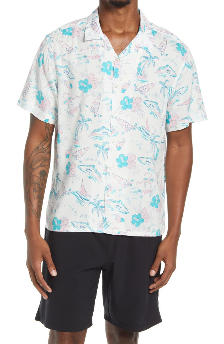 CHUBBIES Year Round Summer Short Sleeve Button-Up Camp Shirt, Main, color, OPEN WHITE