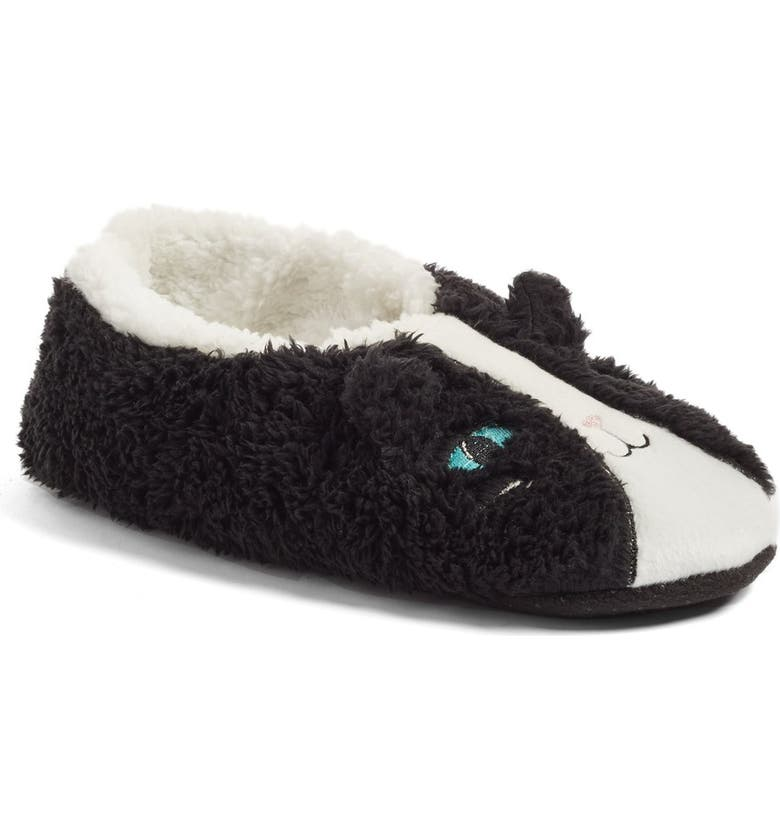 PJ SALVAGE Fuzzy Cat Slippers, Main, color, 001