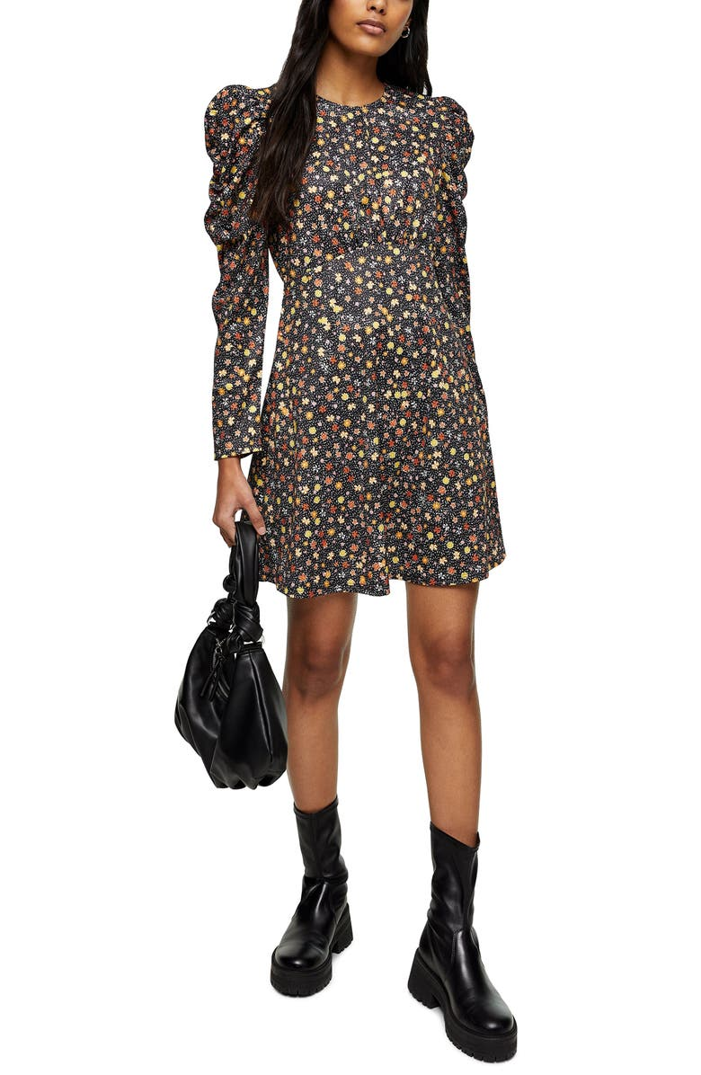 TOPSHOP Ruched Jersey Long Sleeve Minidress, Main, color, YELLOW MULTI